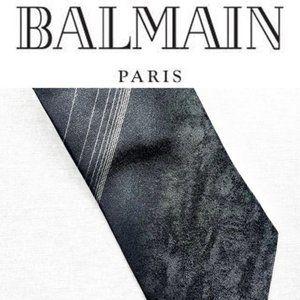 Balmain Paris dark grey diagonal stripe silk tie